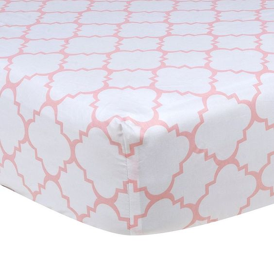 Trend Lab Pink Print Fitted Crib Sheet One size