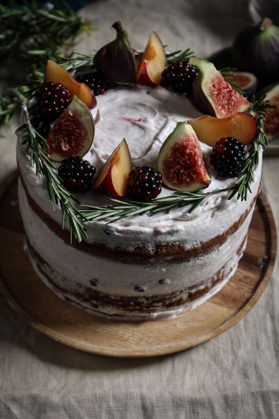... plum and fig cake with rosemary blackberry creme fraiche frosting