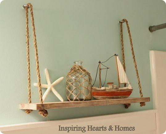Nautical Rope Swing Shelf Inspired By Pottery Barn