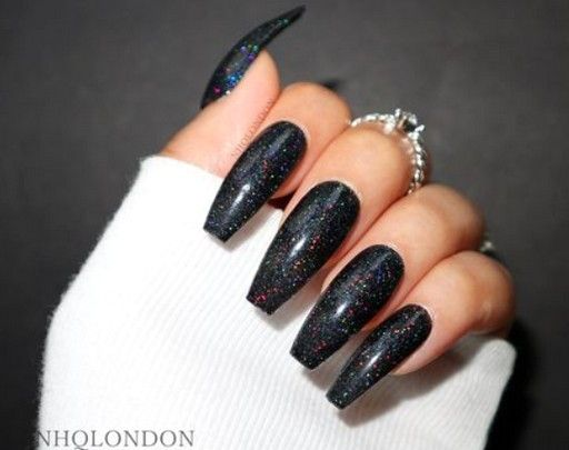 62 Best Black Coffin Nails Design You May Crazy For It Glitter Nails Matte Nails Black Nails With Glitter Coffin Nails Designs Black Sparkle Nails