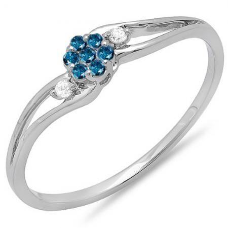 0.10 Carat (ctw) 18k White Gold Round White & Blue Diamond Ladies Bridal Swirl Split Shank Cluster Promise Ring 1/10 CT - Dazzling Rock
