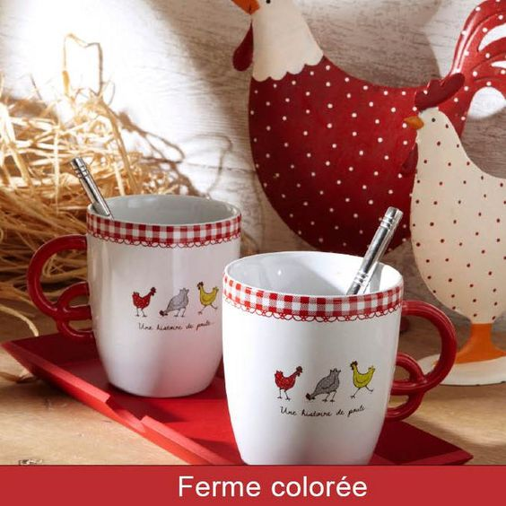 vaisselle plateau mug d co cuisine d co poule plateau mugs poules amadeus lilierose. Black Bedroom Furniture Sets. Home Design Ideas