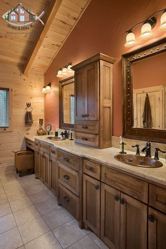 Double vanity master bathroom with vaulted ceilings textured drywall makeup vanity and custom - Bathroom ceilings ideas ...
