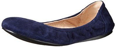 "Vince Camuto Women's Ellen Ballet Flat,Color: Navy Haze,Stone Taupe.Leather Imported Synthetic sole Heel measures approximately 0.25"" Padded footbed Leather lining."