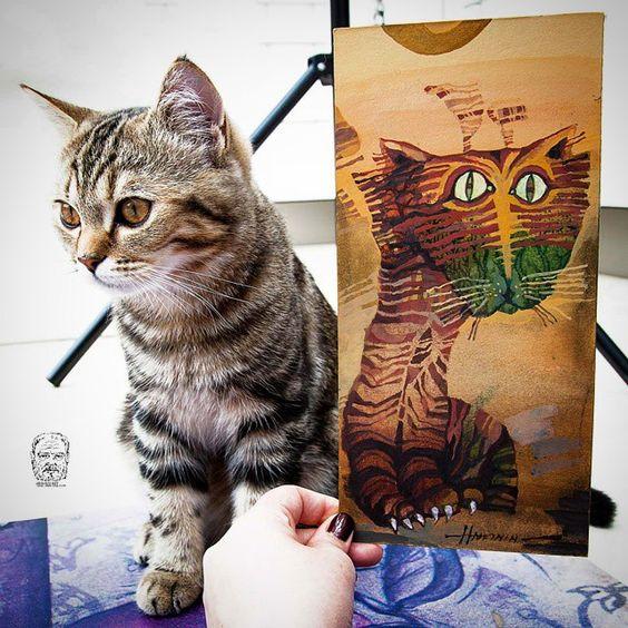 Cat Vs Cat / Original Vs Original Oil on Cardboard by Sergej Hahonin @hahoninart Instagram photos | Websta