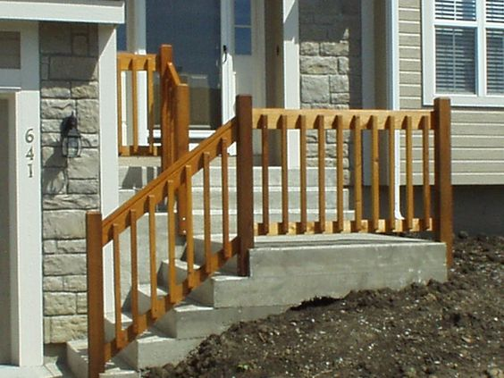 Diy Wooden Porch Handrail Ideas Wood Railing And Concreate Steps Home Improvement Ideas