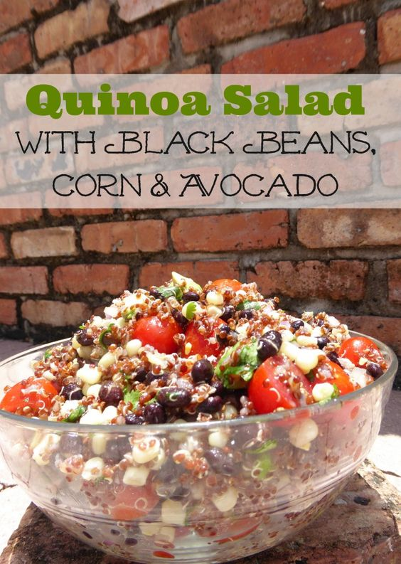 Make this: Red Quinoa Salad with Black Beans, Corn & Avocado! Delicious and full of nutrients!