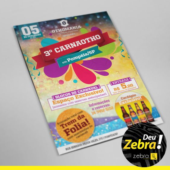 Cartaz da Cervejaria Othomania para o Carnaval. #aprovada #cliente #DeuZebra #zebra #identidade #beer #cervejaria #Tupã #marca