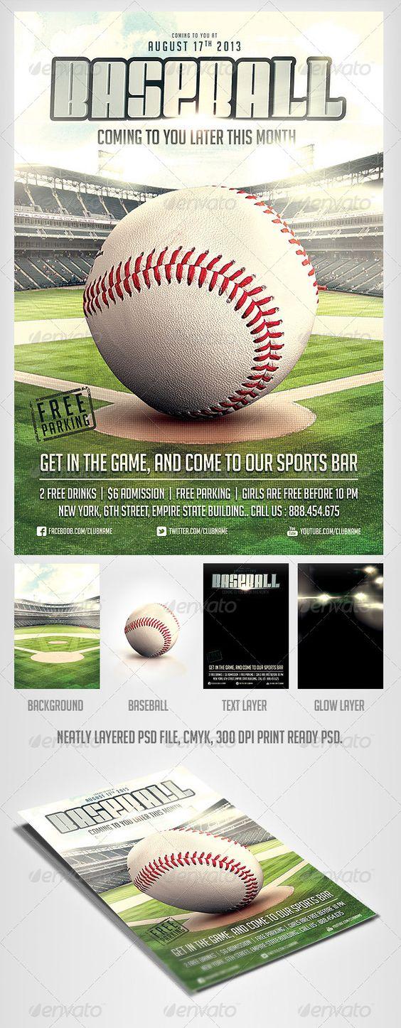 Baseball Game flyer template | Texts, Baseball and Flyers