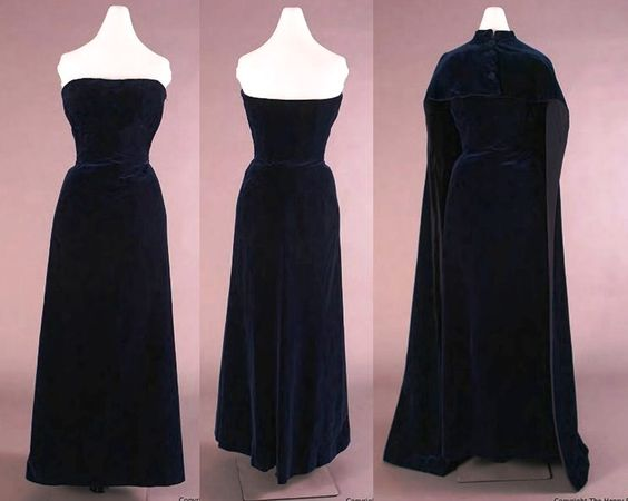 Balenciaga - Evening Dress & Cape 1950-53. Silk and cotton velvet. http://dlxs.lib.wayne.edu/