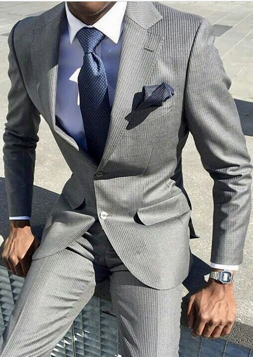 Grey Men S Suits Tailored Suit With A White Shirt And Royal Blue
