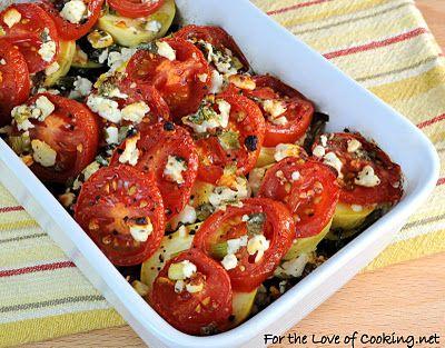 Tomato, squash and feta gratin