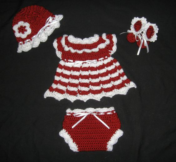 Diaper Dress Set for Baby Girl  with  Booties, Hat, and Diaper Cover  You Choose Colors. $26.00, via Etsy.