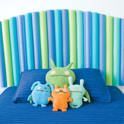 pool noodles as clever, cushy headboard . . . might try for big boy!!