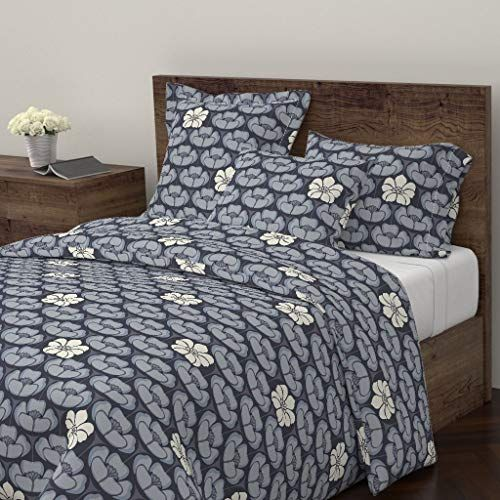 Roostery Floral Duvet Cover Indigo Flowers Dress Blue White Navy By Fernlesliestudio 100 Cotton Twin Duvet Cover