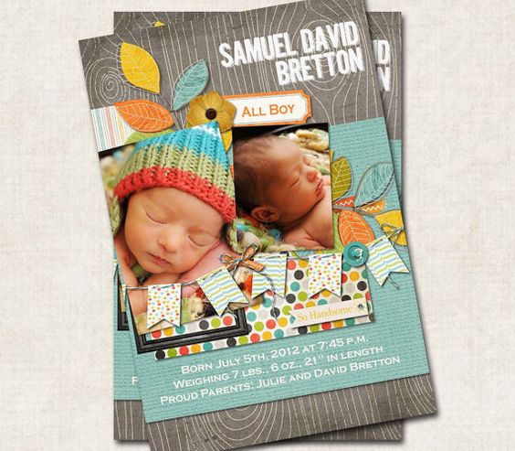 Baby BOY Birth Announcement Thank You by missbellaexpressions,
