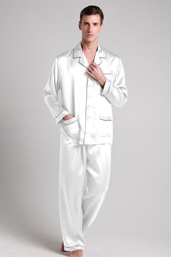 22 momme long silk pajamas set with contrast trim | Colors, The o