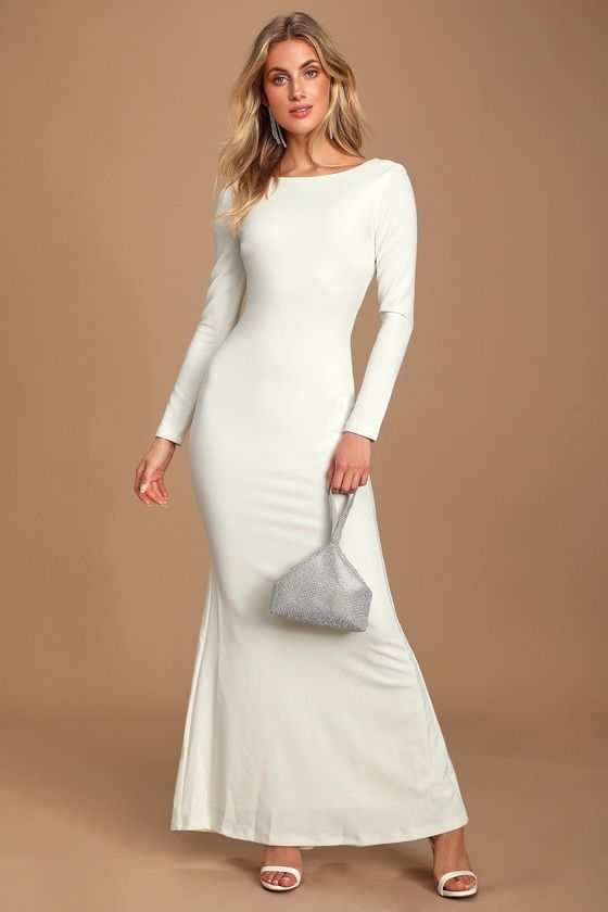 Lulus Vision Of Delight White Backless Mermaid Maxi Dress Size Large 100 Polyester Maxi Dress Wedding Dress Sleeves Maxi Dress With Sleeves