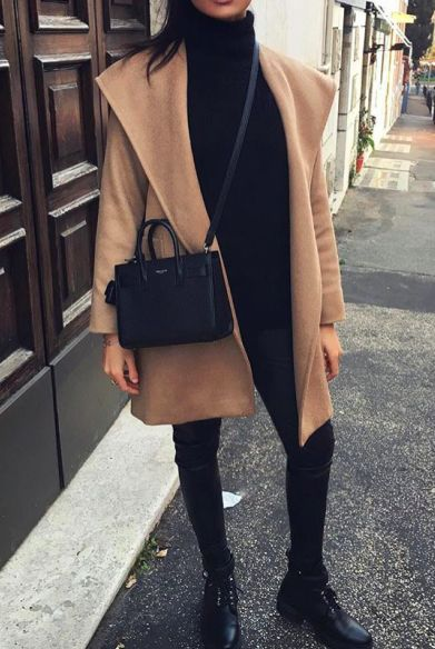 camel and black winter outfits
