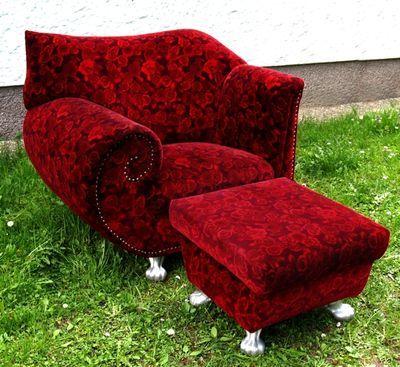 unique red armchair and ottoman bretz rosen sessel bretz stuhl rosenstoff gaudi armchairs. Black Bedroom Furniture Sets. Home Design Ideas