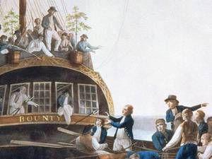 Unterwegs nach Pitcairn. Ransmayr schreibt auch über die Bounty-Meuterei (hier ein Gemälde von Robert Dodd, 1790). Abb.: cinetext Foto: Cine...