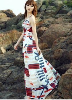 Fashion V-cut Empire Waist Print Chiffon over Length Slim Harness Dress