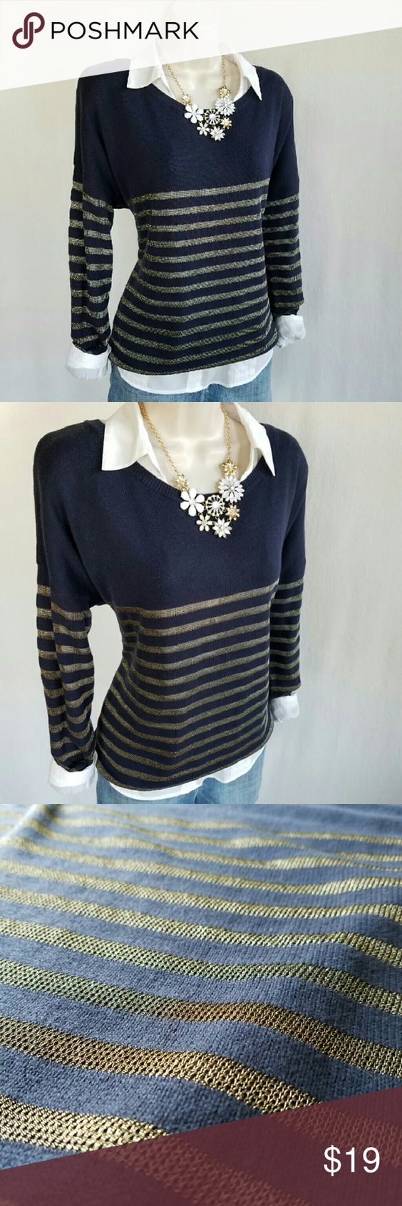 NWT Gap navy & gold sweater NWT | Gold sweater, Navy blue and Cotton