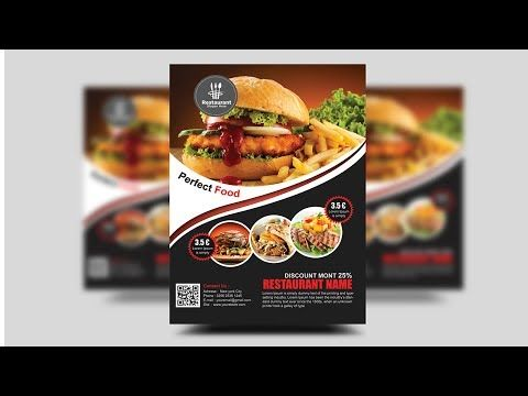 How To Create A Professional Flyer In Photoshop Restaurant Flyer Youtube Restaurant Flyer Food Business Card Photoshop