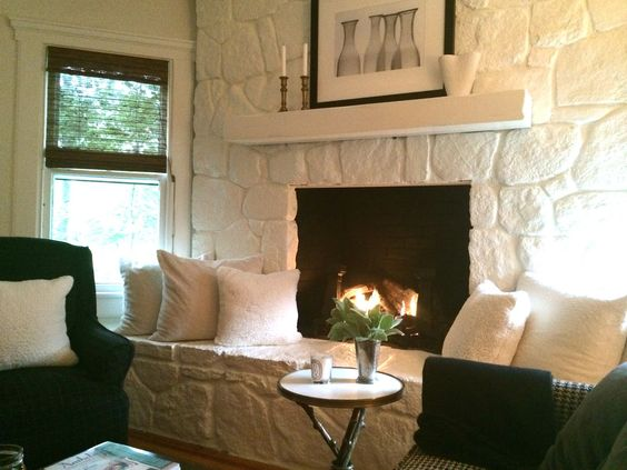 Stone Fireplace Painted 70s Stone Fireplace Painted Rock Fireplaces