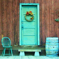 Country Porch Featured Images - The Blue Door  by Marilyn Diaz