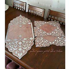 مجموعة مفارش تركية ولا أروع Embroidery Flowers Pattern Table Cloth Decorations Lasercut Design