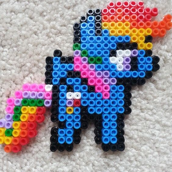 MLP Rainbow Dash perler beads by unhootchie