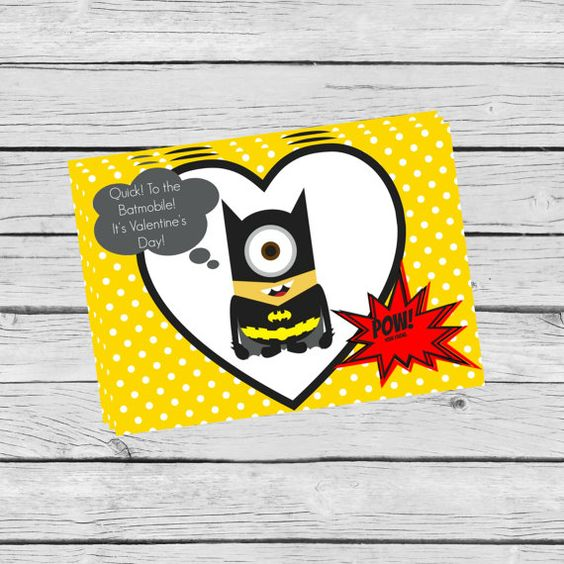Batman Minion Valentine's Day Cards POW Batmobile by KayTDesign #Batman #Minion