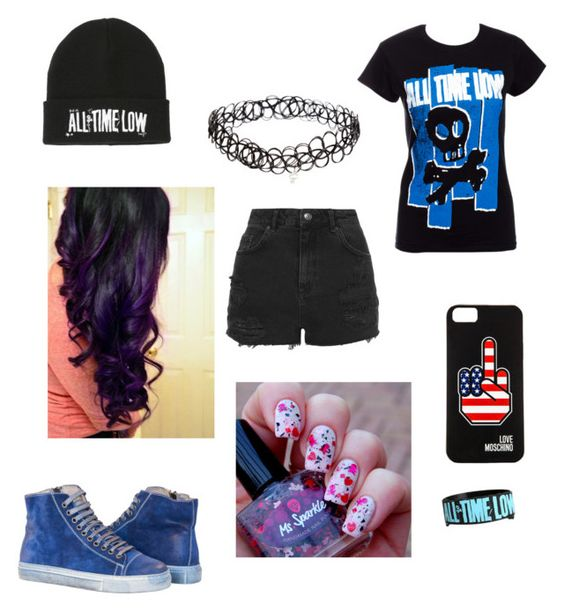 """""""All Time Low outfit"""" by geekywhitewolf ❤ liked on Polyvore featuring mode, Topshop, INDIE HAIR, Love Moschino en ASOS"""