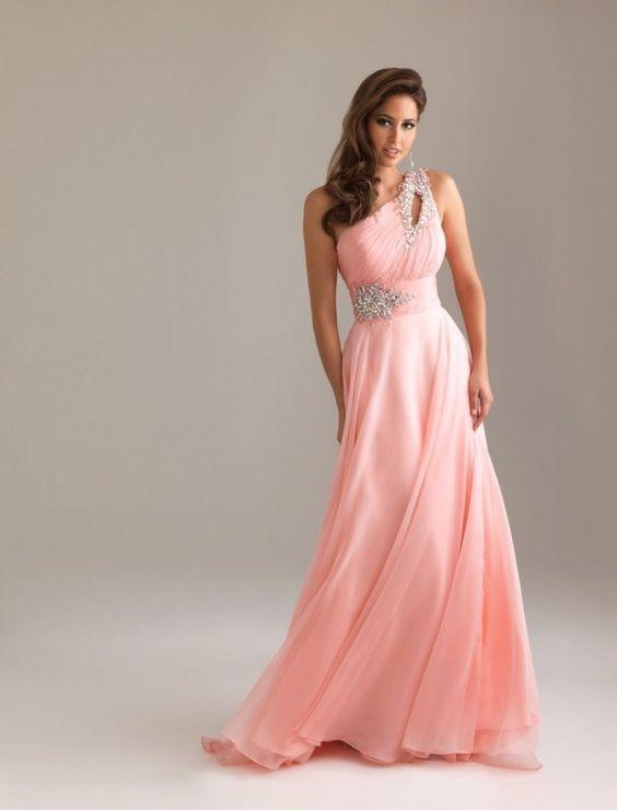 print prom dresses tumblr - Chiffon One-Shoulder Strap A-Line Prom ...