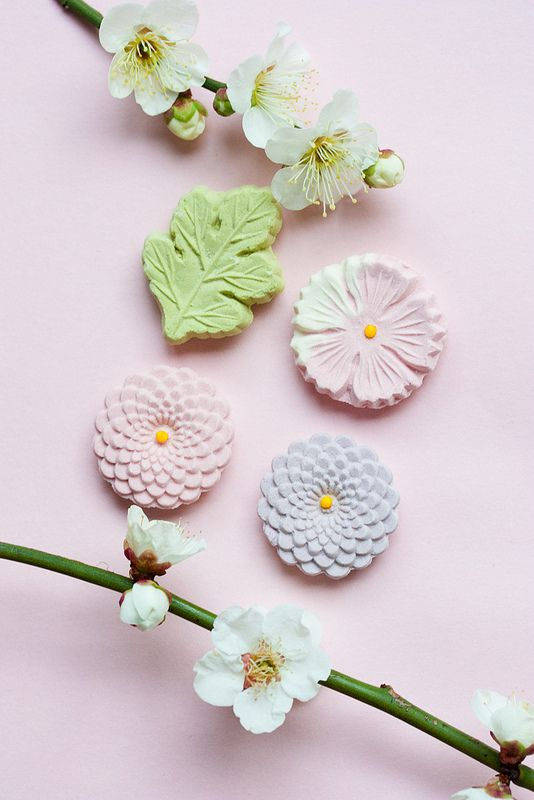 Japanese sweets and apricot flower by mellow_stuff, via Flickr: