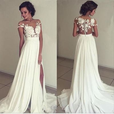 WD09 Lace Simple Charming Wedding Dresses-A-Line Long Wedding ...