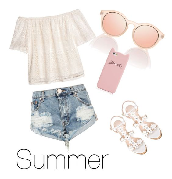 """""""Summer"""" by taytay-fashion ❤ liked on Polyvore featuring H&M, OneTeaspoon, Oscar de la Renta and Kate Spade"""