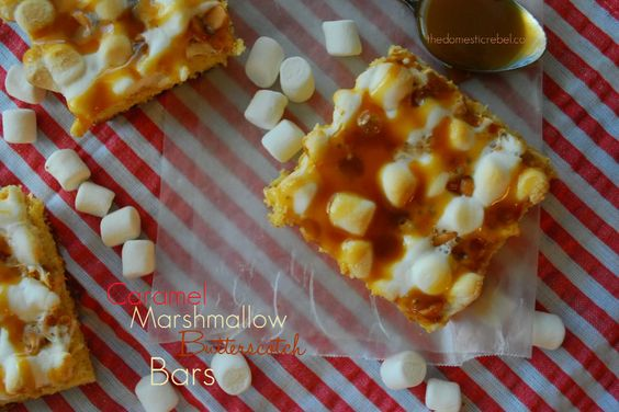 Caramel Marshmallow Butterscotch Bars from @The Domestic Rebel