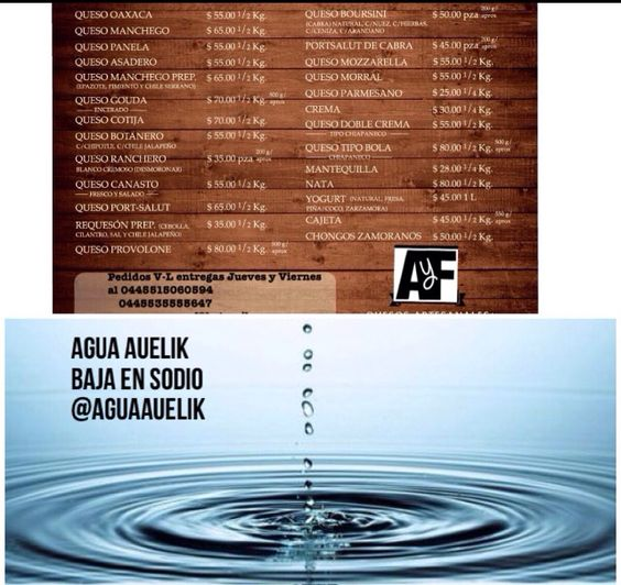 Auelik agua baja en sales y quesos artesanales de AyF