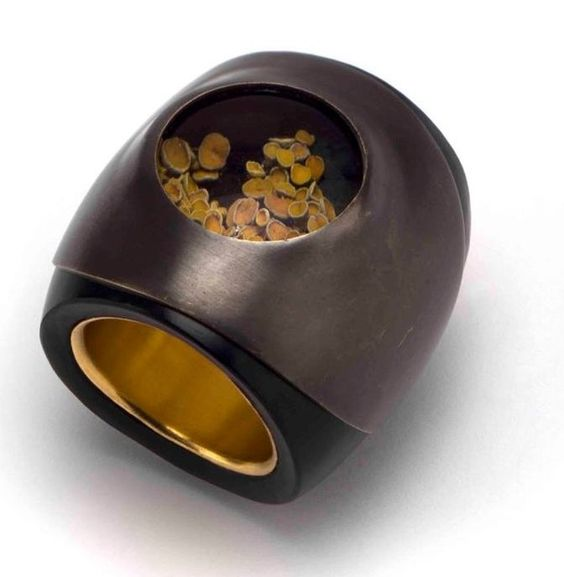 Yiftah Abraham - untitled, 2016, ring; obsidian, silver, synthetic sapphire, lichen, paint