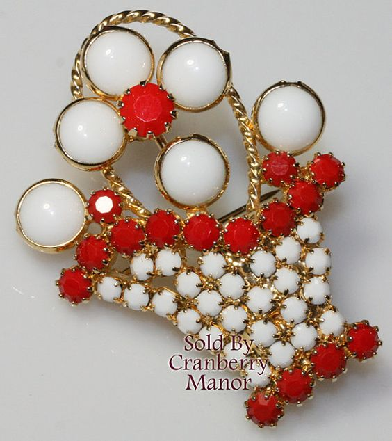 Hobe Red & White Rhinestone Flower Basket Brooch Vintage