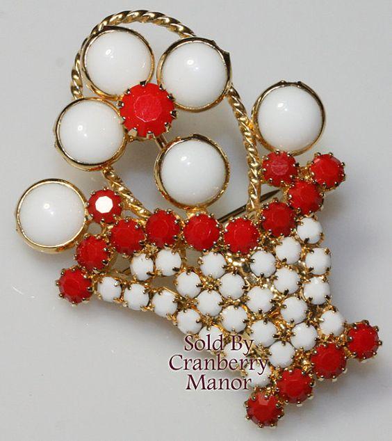 Hobe Red & White Rhinestone Flower Basket Brooch Vintage