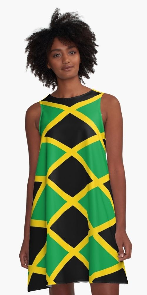 Jamaica National Flag Jamaican Caribbean West Indian West Indies Kingston Green Black Yellow New Jamaica Outfits Island Outfit Jamaican Clothing