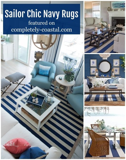 Navy Blue White Striped Area Rugs Shop The Look Of These Interior Designs In 2020 Nautical Decor Living Room Interior Interior Design