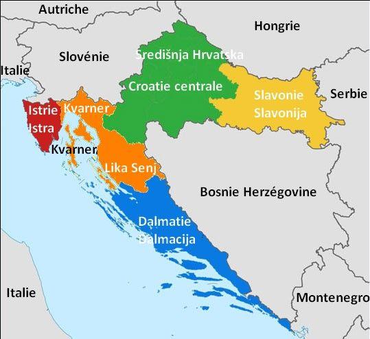 Croatie Carte Des Regions Touristiques Carte Croatie Croatie Carte Touristique