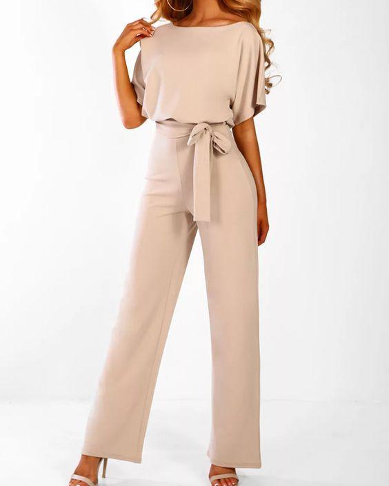 Women Jumpsuit Casual Loose Boat Neck Belted Solid Color Half Sleeve Wide Pants Romper