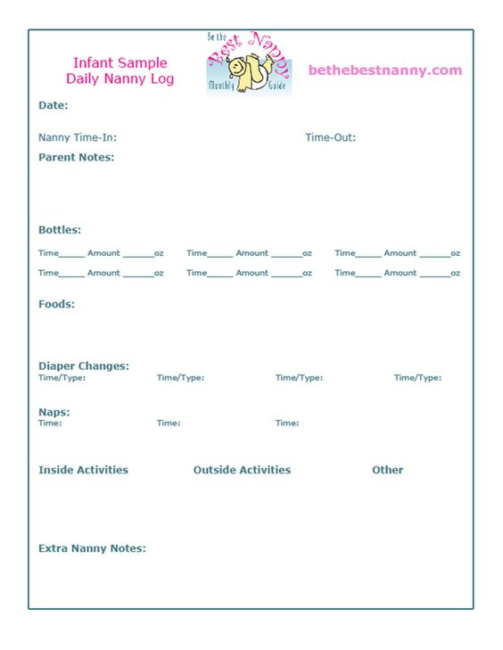 Sample Infant Daily Log  Nanny Stuff    Mal Deti And Deti