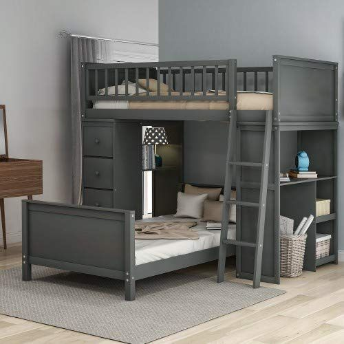 Amazing Offer On Twin Over Twin Loft Bunk Bed Storage Drawers