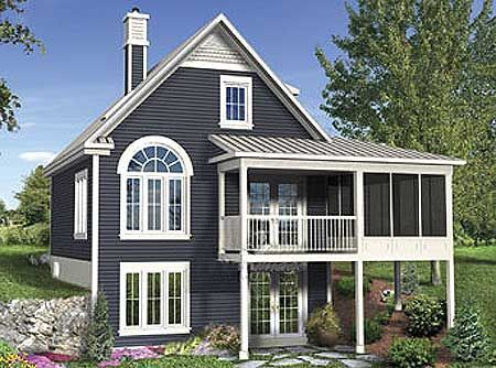 Cottage with attached screened porch and my next for Small lake house plans with screened porch